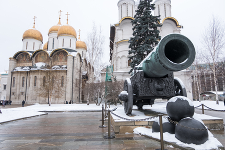 tsar: Tsar Cannon at the Moscow Kremlin, Russia. In winter Stock Photo