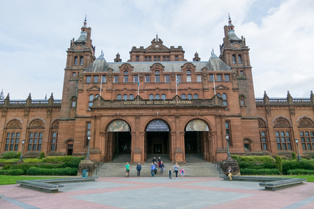 conservatory: Glasgow, Scotland - 17 September 2016 : People walking in front of Kelvingrove Art Gallery and Museum in Glasgow. Editorial
