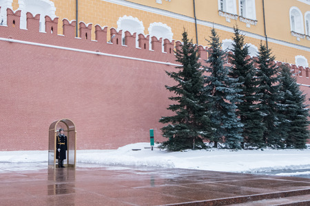 Moscow, Russia. 17 December 2016 : Alexandrovsky Garden, Moscow Kremlin, Russia. In winter. Editorial