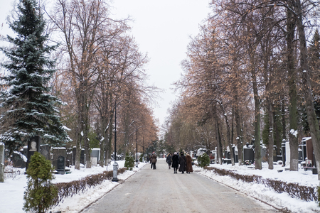 Moscow, Russia. 18 December 2016 : Novodevichy Cemetery, the most famous cemetery in Moscow, Russia. It lies next to Novodevichy Convent. Full of snow in winter.