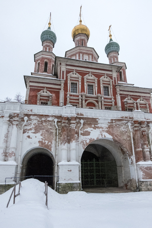 Novodevichy Convent, the best-known cloister of Moscow, Russia and was proclaimed a UNESCO World Heritage Site. Full of snow in winter.
