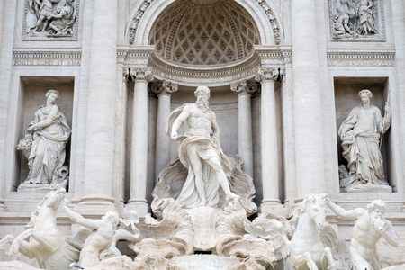 Detail of statue in The Fontana di Trevi or Trevi Fountain. the fountain in Rome, Italy. It is the largest Baroque fountain in the city and the most beautiful in the world.