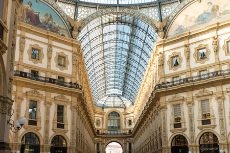 Milan, Italy - 21 May 2017 : Glass roof of Galleria Vittorio Emanuele II, one of the worlds oldest shopping malls. Located in Milan, Italy. Editorial