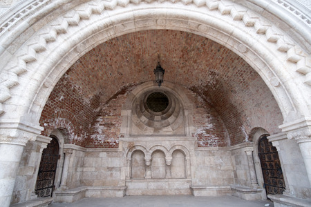 castle district: The entrance of Fishermans Bastion at the heart of Budas Castle District.