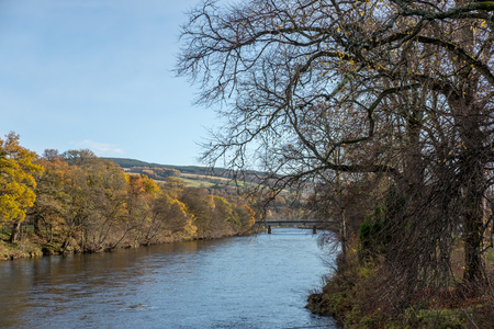 Scenic view of River Tummel, Pitlochry Dam as part of Perth and Kinross. Scotland, United Kingdom