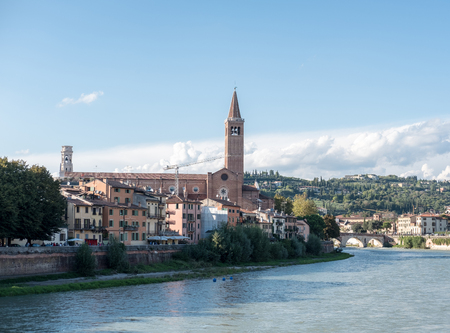 View of Verona. Ponte Pietra, once known as the Pons Marmoreus. It is the Roman arch bridge crossing Adige River