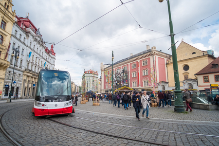 Prague, Czech Republic - 17 April 2017 : Tourist around the Old Town City of Prague with tram Redakční