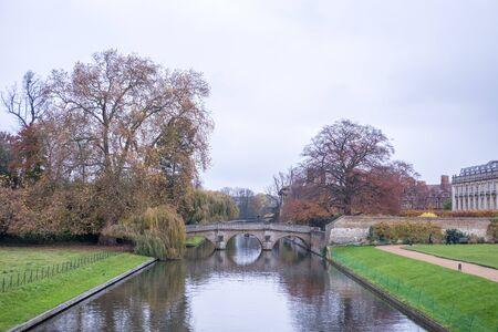 View of the bridge along river Cam in Cambridge, Englan 写真素材