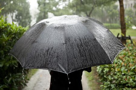 lluvia paraguas: Día de lluvia chica del paraguas Foto de archivo