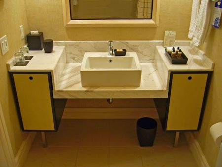 A modern or contemporary bathroom counter and sink