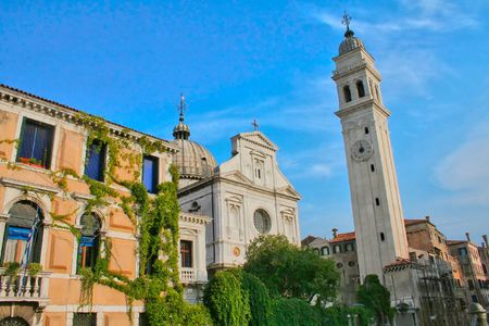 A church and church tower in Venice Stock Photo - 2775134
