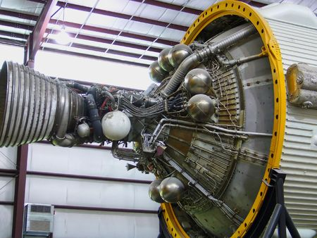 A close up shot of the Saturn 5 space shuttle rocket engine