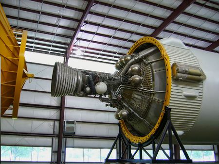 A shot of the Saturn 5 space shuttle rocket engine