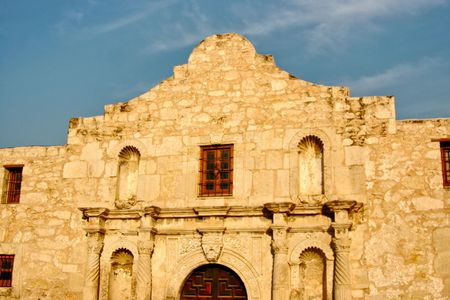 The Alamo located in San Antonio, Texas was the location of the great last stand by some of the biggest Texas Heroes. Stock Photo