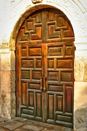 old furniture: An old worn wooden door showing the grain of the wood