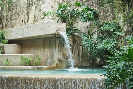 A lush modern fountain mixed with plants and steps Stock Photo