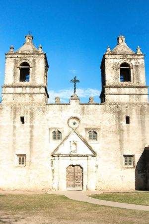 On of the several historic missions of the San Antonio National Heritage Park in Texas Stock Photo