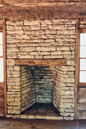 stone fireplace: An old log cabin fireplace