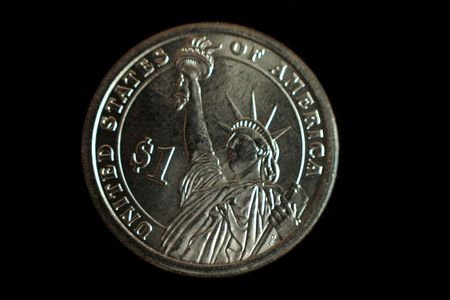 A one dollar statue of liberty US coin photo