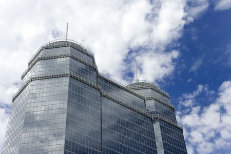 spires: A large glass building with two spires