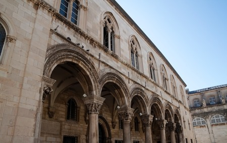 A old historic looking building facade in Dubrovnik