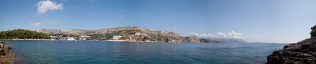 A panoramic view of the hill side in Dubrovnik, Croatia photo