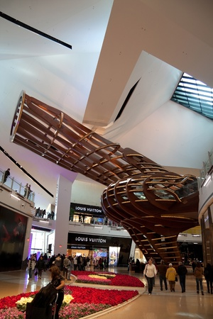 vuitton: December 30th, 2009 - Las Vegas, Nevada, USA - The Crystals shopping mall at City Center by Daniel Libeskind.  The wooden structure was one of the main features of the mall and is located by the flagship Louis Vuitton store.