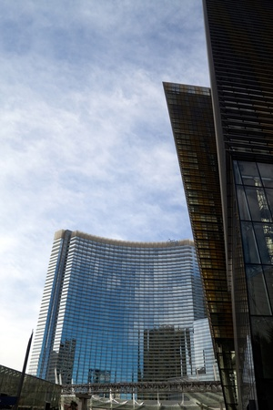 veer: December 30th, 2009 - Las Vegas, Nevada, USA - The large CityCenter Complex feature the VEER towers to the right and the Aria Hotel and Casino in the back