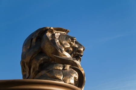 December 30th, 2009 - Las Vegas, Nevada, USA - The MGM Hotel and Casino lions head, which is to bring good luck and is the entrance to the hotel.