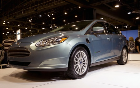 HOUSTON - JANUARY 2012: The Ford Focus Electric car at the Houston International Auto Show on January 28, 2012 in Houston, Texas.  Stock Photo - 12272359
