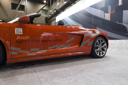 HOUSTON - JANUARY 2012: The 2012 Audi R8 Spyder sports car at the Houston International Auto Show on January 28, 2012 in Houston, Texas. Stock Photo - 12272365