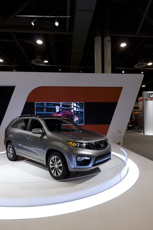 HOUSTON - JANUARY 2012: The 2012 KIA Sorento SUV at the Houston International Auto Show on January 28, 2012 in Houston, Texas. Stock Photo - 12272358
