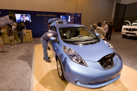 HOUSTON - JANUARY 2012: The Nissan Leaf Electric car at the Houston International Auto Show on January 28, 2012 in Houston, Texas. Stock Photo - 12272362