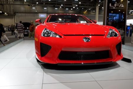 HOUSTON - JANUARY 2012: The 2012 Lexus LFA sports car at the Houston International Auto Show on January 28, 2012 in Houston, Texas. Stock Photo - 12513317