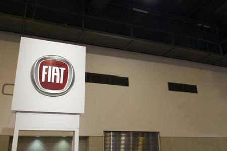 HOUSTON - JANUARY 2012: A Fiat sign at the Houston International Auto Show on January 28, 2012 in Houston, Texas.