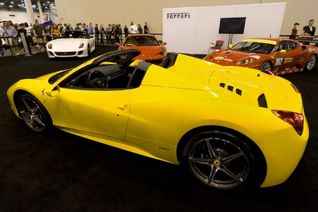 HOUSTON - JANUARY 2012: The Ferrari 458 Spider sports car at the Houston International Auto Show on January 28, 2012 in Houston, Texas. Stock Photo - 12572838
