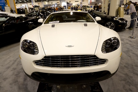 HOUSTON - JANUARY 2012: The Aston Martin Vantage sports car at the Houston International Auto Show on January 28, 2012 in Houston, Texas. Stock Photo - 12572842