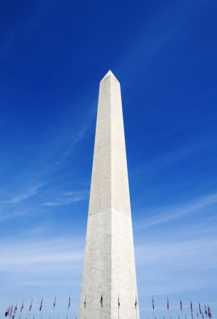 district of columbia: The Washington Monument surrounded with US flags in Washington D C