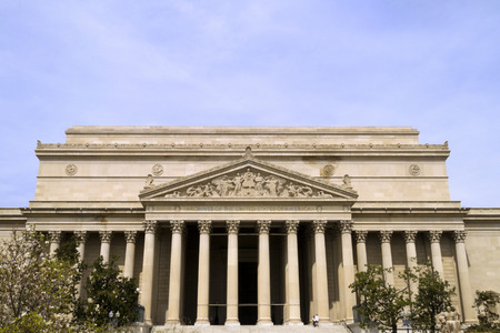 The Front of the National Archives in Washington DC Standard-Bild