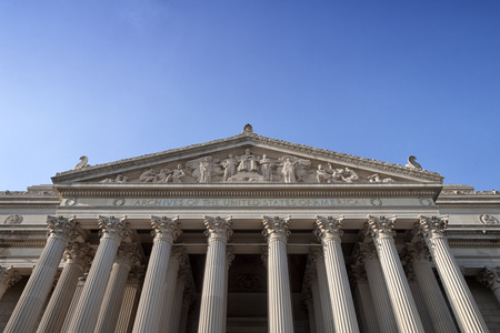 The facade of the National Archives in Washington DC