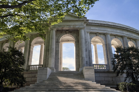 The amphitheater entrance for the tomb to unknown soldier in Arlington Cemetery in Virginia, USA Editorial