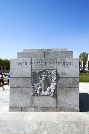 Steintafel an den National World War II Memorial in Washington DC, USA Standard-Bild - 47179866