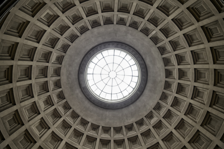 Historic dome underside with glass oculus in the center Stock Photo