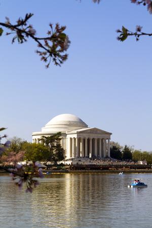 Exterior facade of the Thomas Jefferson Memorial on the Tidal Basin in Washington DC.