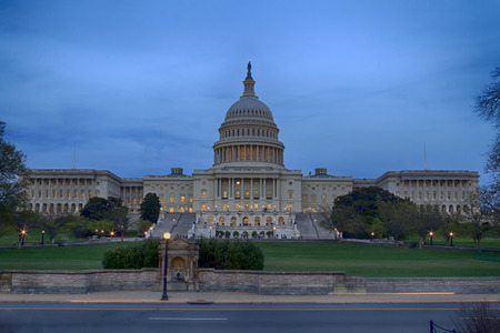 The United States Capitol Building at dusk in Washington D.C. Stock Photo