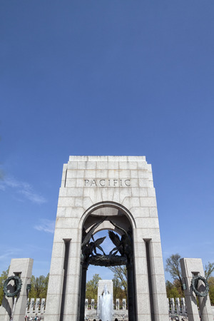 The Pacific pillar or entrance at the The National World War II Memorial in Washington D.C., USA