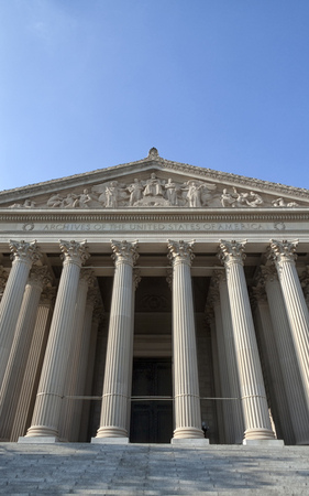 The entrance of the National Archives in Washington DC Editorial