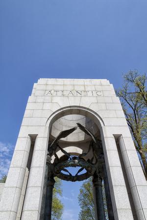 The Atlantic pillar or entrance at the The National World War II Memorial in Washington D.C., USA