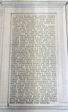 Stone tablet inside the Abraham Lincoln Memorial in Washington D.C. Editorial