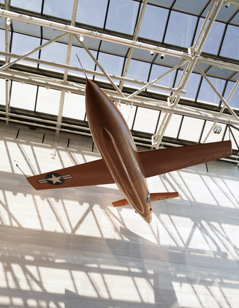 The Bell X-1 was the first airplane to fly faster then the speed of sound.  Built by the US Airforce in October 14, 1947 and caption was Charles E. Yeager